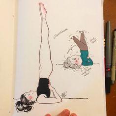 Yoga Expectations Vs Reality – Adriana Rodríguez León Part II - Kundalini Yoga, Yoga Meditation, Yoga Flow, Yoga Kunst, Pilates, Tree Drawings Pencil, Art Drawings, Yoga Cartoon, Beautiful Yoga Poses