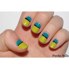 Blue and Green Colorblock Nails