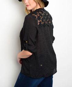 Black Lace-Panel Button-Up - Plus