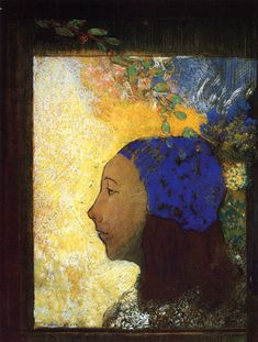 "artist-redon: "" Young Girl in a Blue Bonnet by Odilon Redon Size: 39.5x53 cm Medium: pastel on paper"""