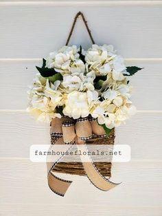 Cream Hydrangea Door Hanger Basket Wreaths For Front Door, Door Wreaths, Greenery Wreath, Floral Wreath, Flower Market, Pink Peonies, Hanging Baskets, Door Hangers, Farmhouse Decor