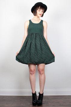 Vintage 90s Dress Mini Dress Babydoll Dress 1990s Dress Dark Green Floral Print Soft Grunge Dress Hunter Green Sundress XS S Small M Medium by ShopTwitchVintage #vintage #etsy #90s #1990s #dress #mini #babydoll #grunge #floral #softgrunge