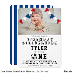 Cute Soccer Football Kids Photo 1st Birthday Invitation