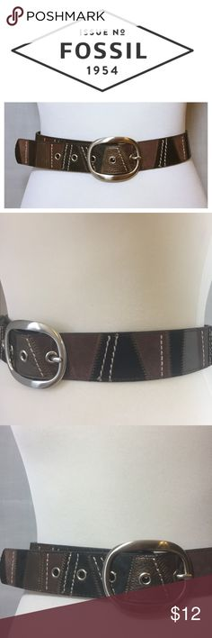 Fossil Brown Black Leather Suede Patchwork Belt S Fossil Brown Black Leather Suede Patchwork Belt  • Sz S  • Women's  • Silver Buckle • Genuine leather • Very good pre-loved condition, no imperfections, no signs of wear • Medium brown suede, dark brown su
