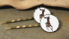 Christmas Reindeer Bobby Pin - Set of Two - Reindeer Bobby Pins - Reindeer Hair Pins - Holiday Bobby Pins - Christmas Bobby Pins - pinned by pin4etsy.com