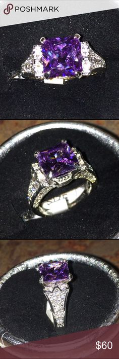 Lavender Purple Amethyst Diamond S925 Ring Absolutely stunning. 3.00ct Lavender purple Amethyst gemstone and Diamond .ring . S925 Sterling silver stamped band. Size 8. Cut Princess square. Quality AA. Multi facet cut. Clarity clear.  Comes in black velvet gift bag. Wrapped and shipped with care. Tracking always provided. No pink Color Available . Color is purple pictures with flash and no flash taken . Color may vary due to light and flash . ice Jewelry Rings