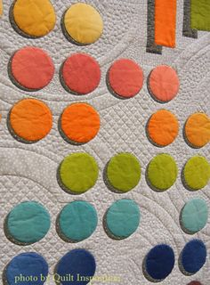 Playing with Color by Sandi Snow.  Closeup photo by Quilt Inspiration.  Applique with shadows. 2014 AQS Quilt Week.