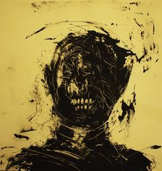 "Joon Hee Lee; Monotype, 2011, Printmaking ""Man with Angers"""