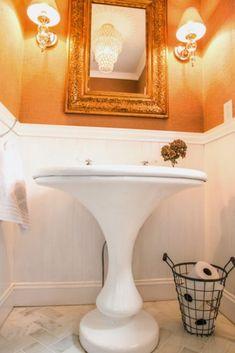 Small bathrooms need not lack BIG style. Check out this little powder room renovated on a little budget renovation, complete with Craigslist pedestal sink! Bath Towel Racks, Bath Towels, Home Design, Design Ideas, Pedestal Sink Storage, Blue Master Bedroom, Floating Shelves Bathroom, Bathroom Storage, Diy Wallpaper