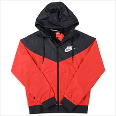 NIKE nike parka windbreaker wind runner nylon jacket nylon parka (red... ($90) ❤ liked on Polyvore featuring jackets, tops, hoodies, outerwear and nike