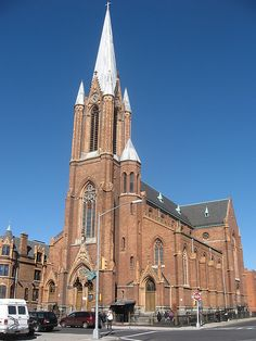 All Saints Church, East Williamsburg, Brooklyn, was completed in 1896. The church was established to serve a growing German population.
