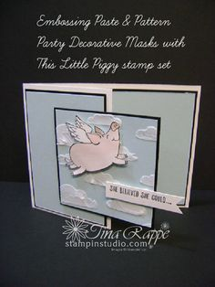 Stampin' Up! Embossing Paste, Pattern Party Decorative Masks, This Little Piggy stamp set, Stampin' Studio