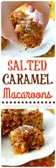 Salted Caramel Macaroons: tender, chewy, sweet & gooey coconut macaroon cookies flavored with toasted coconut and salted caramel. Super easy, fast, no mixer-required and perfect for gift-giving!