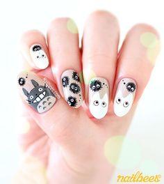 Totoro Nail Art Design More Cartoon Nail Art Pretty Nail Art, Cute Nail Art, Cute Acrylic Nails, Nail Art Diy, Beautiful Nail Art, Easy Nail Art, Cute Nails, Gel Nails, Pastel Nails