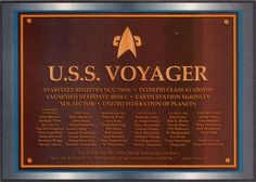 Star Trek USS Defiant Dedication Plaque | Federation Starfleet Class Database - Intrepid Class - U.S.S. Voyager