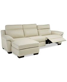 Julius Ii Leather Chaise Sectional Sofa With 2 Power Recliners, Power Headrests And Usb Power Outlet - Off White Reclining Sectional With Chaise, Modular Sectional Sofa, Leather Sectional Sofas, Buy Living Room Furniture, Living Rooms, Living Spaces, White Leather Sofas, Sofa Seats, Couches