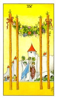 Detailed Tarot card meaning for the Four of Wands including upright and reversed card meanings. Access the Biddy Tarot Card Meanings database - an extensive Tarot resource. Rider Waite Tarot Cards, Tarot Significado, Tarot Gratis, Free Tarot Reading, Tarot Card Meanings, Oracle Cards, Tarot Decks, Wands, Witches