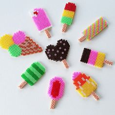 Ice cream hama beads by sorridi_e_staystrong Hama Beads Design, Diy Perler Beads, Perler Bead Art, Pearler Beads, Hama Beads Coasters, Perler Bead Designs, Melty Bead Patterns, Pearler Bead Patterns, Perler Patterns