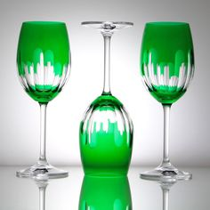 Unconventionally Brilliant!  What a great style!  Crystal Emerald Wine Goblet – Gifts by Kasia