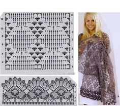 Beautiful Crochet Patterns and Knitting Patterns - Browse our thousands of free crochet patterns and knitting patterns. Crochet Diagram, Crochet Chart, Knit Or Crochet, Crochet Motif, Crochet Stitches, Crochet Shawls And Wraps, Knitted Shawls, Crochet Scarves, Crochet Clothes