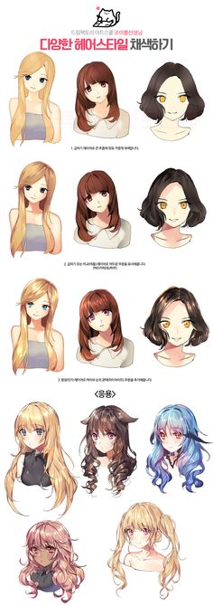 Drawing Hairstyles For Your Characters - Drawing On Demand Drawing Reference Poses, Drawing Skills, Drawing Poses, Drawing Techniques, Digital Painting Tutorials, Digital Art Tutorial, Art Tutorials, Anime Drawings Sketches, Manga Drawing