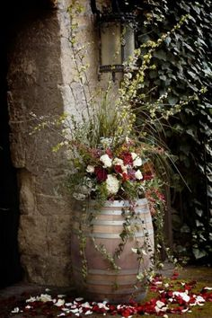 Flowers planted in a barrel