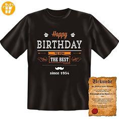 Tolles Geburtstagsshirt: since 1954 T-Shirt ...mit Urkunde!! Birthday Funshirt Sechzigster Gr: 5XL Farbe: schwarz - Shirts zum geburtstag (*Partner-Link)