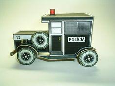 Vintage Police Car Paper Model  - by Papermau