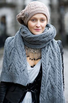 cute contrast of chunky knitwear and sparkly jewelry...