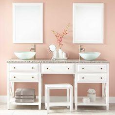 "72"" Glympton Vessel Sink Double Vanity with Makeup Area - White"