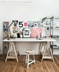 Artistic & Industrial Home Office – Bright.Bazaar: - Home Office Decoration Home Office Inspiration, Workspace Inspiration, Room Inspiration, Kitchen Inspiration, Industrial Home Offices, Industrial House, Industrial Stool, Industrial Design, Kitchen Industrial