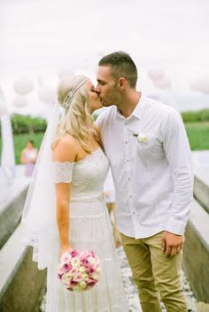 Beautiful bride in the Josee x Lace wedding dress by Grace loves lace the perfect wedding gown for the free spirit boho beach bride with true style and originality www.graceloveslace.com.au  Follow on Instagram grace_loves_lace x
