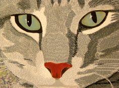 Pickle Lilly, 16×20, by Karen Ponischil.  Art quilt, cat portrait.