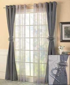 Create a variety of different looks with this 6-Pc. Complete Window Set. It includes two different types of panels (solid and sheer) and antique-look tie-backs