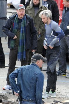 Joss Whedon on the set of Avengers Age of Ultron - with the guy with the idiot hair (Yes, I know this is Aaron Taylor-Johnson as Quicksilver, I'll call him what I want.)