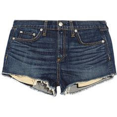 Rag & bone JEAN Mila cut-off denim shorts (305 BRL) ❤ liked on Polyvore featuring shorts, bottoms, pants, short, mid denim, loose jean shorts, blue short shorts, loose fitting shorts, cut off shorts and loose shorts