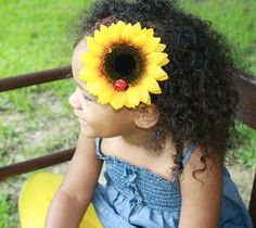 Sunflower headband Photography Prop Kids Hair by foreverandrea on etsy.