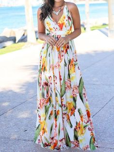 V-Neck Sleeveless Floor-Length Travel Look Mid Waist Dress – streetfancys Sexy Dresses, White Maxi Dresses, Casual Dresses, Printed Dresses, Prom Dresses, Skater Dresses, Floral Dresses, Women's Casual, Manga Floral