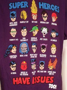 DC Comics Superheros Have ISSUES Too T Shirt Mens Sz L Batman Flash Joker Hawk #DCComics #GraphicTee $13.99