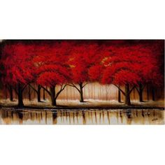 Trademark Fine Art Parade of Red Trees II Canvas Art by Rio, Size: 24 x 47, Multicolor
