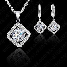 Top Quality luxe Zircon carré Design élégant 925 collier en argent Sterling boucles de fiançailles de mariage parures pour nuptiale