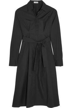 JIL SANDER Belted Cotton-Poplin Dress. #jilsander #cloth #dresses