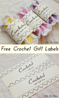 Free Crochet Gift Label Great little idea for your handmade items by Little Miss Stitcher. You can download these Free Crochet Gift Labels here and share the homemade love! All you have to do is print
