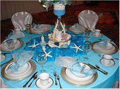 Under the sea wedding theme on pinterest beach themed weddings turquoise w - Decoration table mer ...