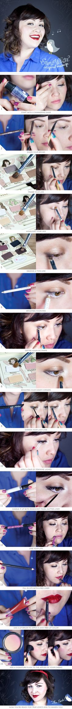 How-To: Snow White-Inspired Makeup going as snow white so this is great!