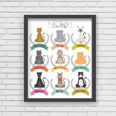 Domestic Cats Wall Art Print Home Decor Cat by LucyDarlingPrints, $19.99