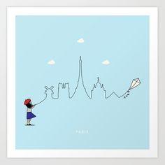 Paris Skyline Kite Art Print by keindesign Buy Frames, Kite, Travel Posters, Nursery Decor, Paris Skyline, Gallery Wall, Art Prints, Wall Art, Products