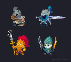 Four Knights of Gwyn in all their bouncy chibi glory~ Sorry I haven't posted much here lately; more Pixel Art on my Twitter: @Bandygrass