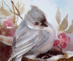 Grey Titmouse Watercolor Painting Bird by judithbelloriginals, $18.00