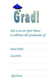 a free graduation invitation template with instructions on how you can customize it - Free Printable Graduation Invitation Templates